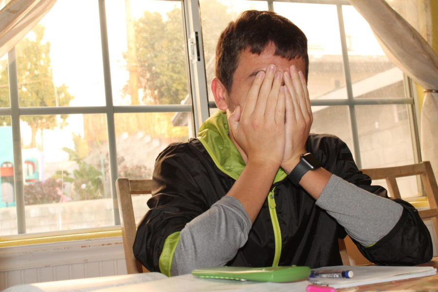 Junior Justin Fuchs overwhelmed preparing for the upcoming test in pre-calculus.